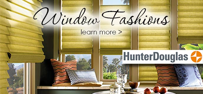 The Carpet Man offers stunning window fashions from Hunter Douglas.
